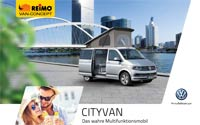 Download brochure on REIMO CityVan camper van based on the new Volkswagen Transporter T6 [PDF file]
