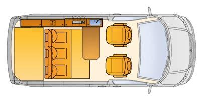 Grundriss des Reimo CityVan auf Volkswagen Transporter 5 kurzer Radstand