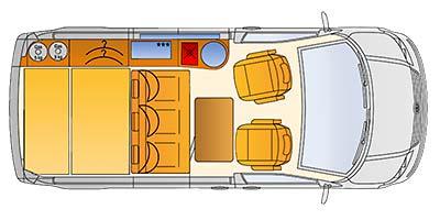 Grundriss des Reimo FreeVan auf Volkswagen Transporter 5 kurzer Radstand