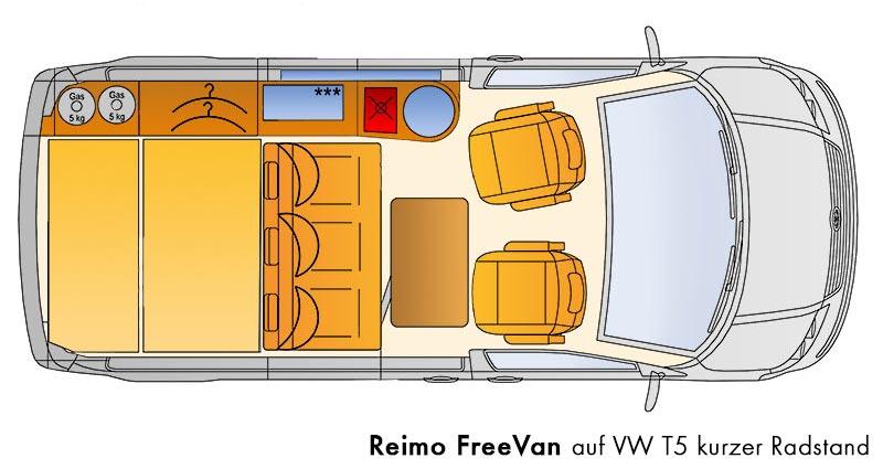 campingbus reimo freevan auf vw t5 der stauraumriese. Black Bedroom Furniture Sets. Home Design Ideas