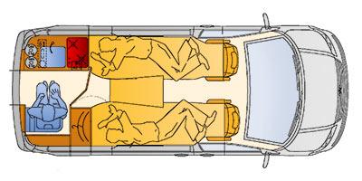 Grundriss des Reimo MultiStyle auf VW T5 kurzer Radstand