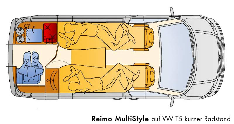 campingbus reimo multistyle auf vw t5 daten grundriss ausstattung. Black Bedroom Furniture Sets. Home Design Ideas