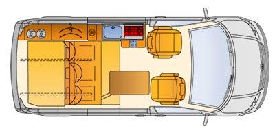Grundriss des Reimo SportCamper auf Volkswagen Transporter 5 kurzer Radstand