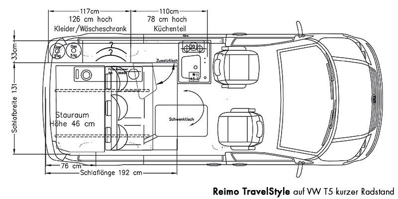 campingbus vw t5 travelstyle daten grundriss dekore. Black Bedroom Furniture Sets. Home Design Ideas