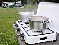Camping Gas Stove In Use