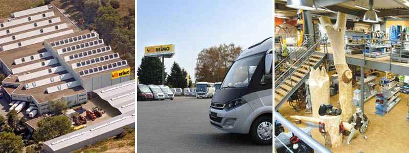 Reimo in Egelsbach und Weiterstadt bei Darmstadt: Produktion von Campingbussen, großes Zubehörlager, Camping-Megastore, Verkauf von Campingbussen, Wohnmobilen und Caravans