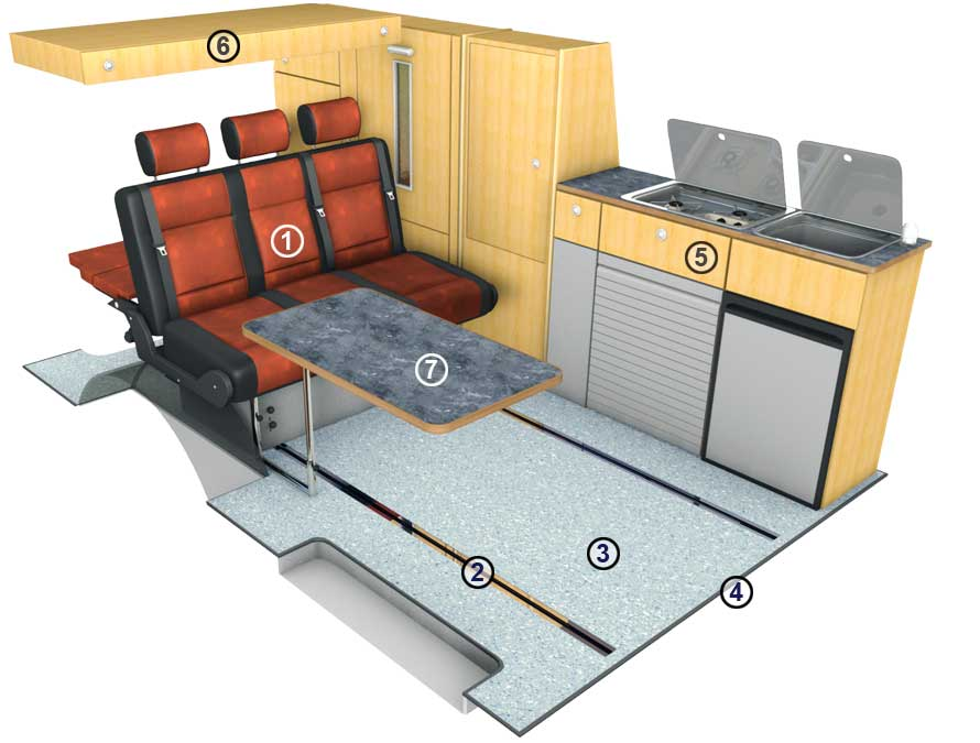 campingausbau t5 t6 triostyle langer radstand. Black Bedroom Furniture Sets. Home Design Ideas