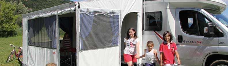 Awning side walls, weather protection awnings, sunscreen caravan