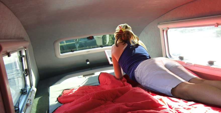 A cosy place in the campervan roof
