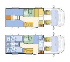 Adria Compact SL: Grundriss in Tag- und Nachtstellung