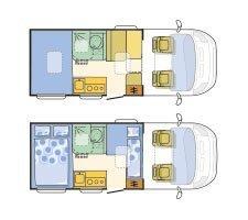 Adria Compact SP: Grundriss in Tag- und Nachtstellung